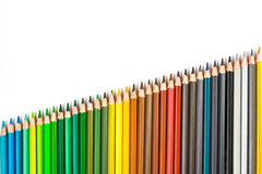 Colour pencils isolated on white background.  royalty free stock image