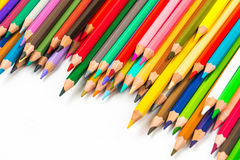 Colour pencils isolated on white background.  stock images