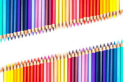 Colour pencils isolated on white background.  royalty free stock photo