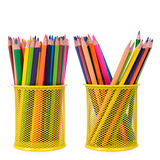 Colour pencils isolated. On white background close up Royalty Free Stock Photo