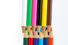 Colour pencils isolated on white background. Close up stock images