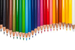 Colour pencils isolated on white background close up Stock Image