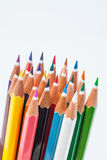 Colour pencils isolated on white background close up Royalty Free Stock Photography