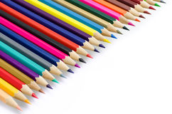 Colour pencils isolated on white background close up.  stock images