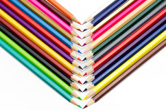Colour pencils isolated on white background close up.  stock image