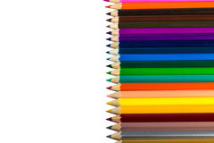 Colour pencils isolated on white background close up Royalty Free Stock Images