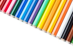 Colour pencils isolated on white background. Close up stock photo