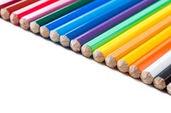 Colour pencils isolated on white background. Close up royalty free stock photo