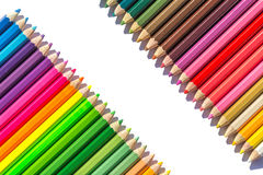 Colour pencils isolated on white background. Close up colour pencils isolated on white background royalty free stock photography