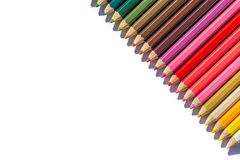 Colour pencils isolated on white background. Close up colour pencils isolated on white background stock photography