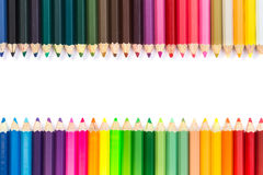 Colour pencils isolated on white background. Close up colour pencils isolated on white background royalty free stock photo