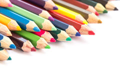 Colour pencils isolated on white background. Close up colour pencils isolated on white background stock images