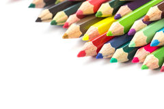 Colour pencils isolated on white background. Close up colour pencils isolated on white background royalty free stock images