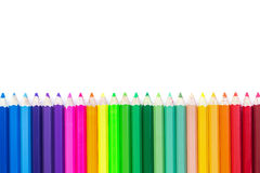 Colour pencils isolated on white background. Close up colour pencils isolated on white background stock photos