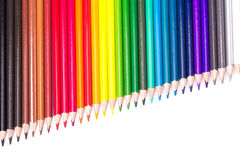 Colour pencils isolated on white background. Close up royalty free stock photos