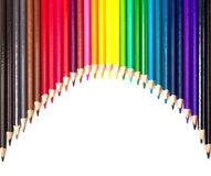 Colour pencils isolated on white background. Close up stock photos