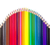 Colour pencils isolated on white background. Close up royalty free stock photography