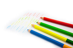 Colour pencils isolated on white background. Close up stock photography
