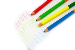 Colour pencils isolated on white background. Close up stock image