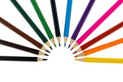 Colour pencils isolated on white background close up. Colour pencils isolated white background close up royalty free stock photography