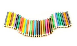 Colour pencils isolated on white background.  Many different col Royalty Free Stock Photography