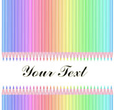 Colour pencils isolated. On white background with text Royalty Free Stock Photos