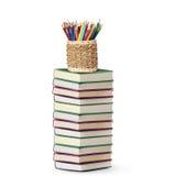 Colour pencils open book Royalty Free Stock Photos
