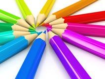 Colour pencils over white background. 3d rendered image vector illustration