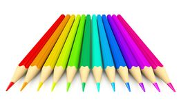 Colour pencils over white background Stock Photography