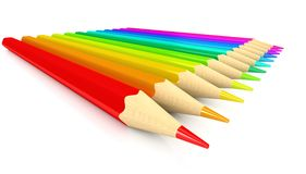 Colour pencils over white background Stock Images