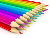 Colour pencils over white background. 3d rendered image royalty free illustration