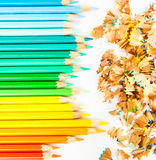 Colour pencils with pencil saw dust. On white bacground royalty free illustration