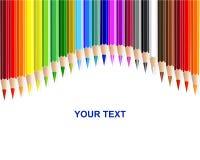 Colour pencils, rainbow curtain background. Vector Stock Photos