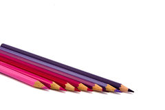 Colour pencils of red shades Royalty Free Stock Image