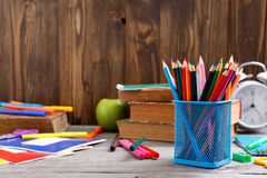 Colour pencils and school supplies Stock Photos