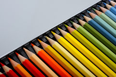 Colour pencils set. Colour pencils set in box Royalty Free Stock Image