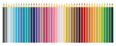 Colour pencils. Set of colored pencils  on white backgro Stock Photo
