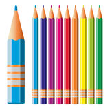 Colour pencils. Set of colored pencils on white background. Vector illustration Stock Image