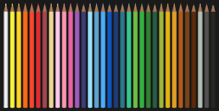 Colour pencils. Set of 33 pencils in different colors isolated o Stock Image