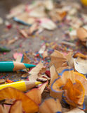 Colour Pencils and Shavings Royalty Free Stock Image
