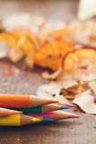 Colour Pencils and Shavings Stock Photography
