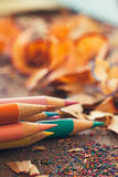 Colour Pencils and Shavings Royalty Free Stock Photos