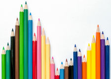 Colour pencils stock. On white background Royalty Free Stock Images