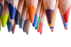 Colour pencils. Of various colors on white background Stock Photo