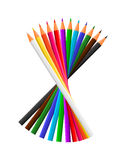 12 Colour Pencils. Vector of 12 Colour Pencils Royalty Free Stock Image