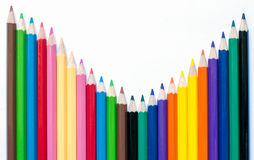 Colour pencils wave Royalty Free Stock Images