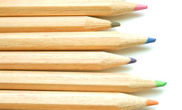 Colour pencils on the white background Royalty Free Stock Photo