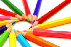 Colour pencils on a white background. Royalty Free Stock Photos