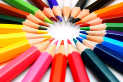 Colour pencils on a white background. Royalty Free Stock Photography