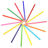 Colour pencils on a white background. Royalty Free Stock Photo